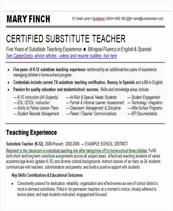 Substitute Teacher Resume Sample Awesome 25 Teacher Resume Templates In Word