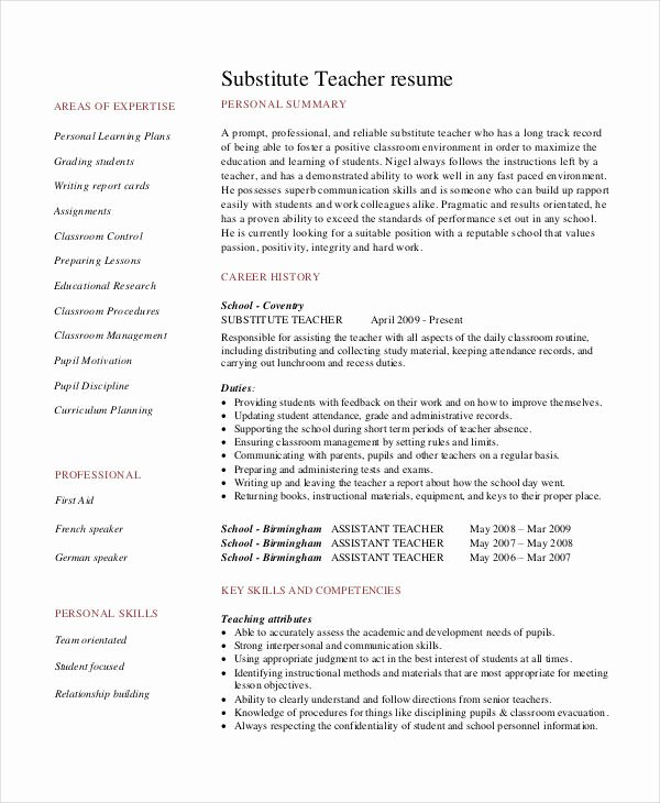 Substitute Teacher Resume Sample Awesome Teacher Resume Examples 23 Free Word Pdf Documents Download