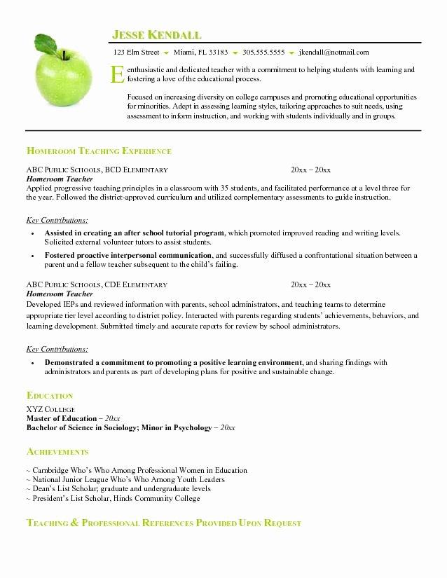 Substitute Teacher Resume Sample Elegant Teacher Resume Examples Substitute Teacher Resume Summary