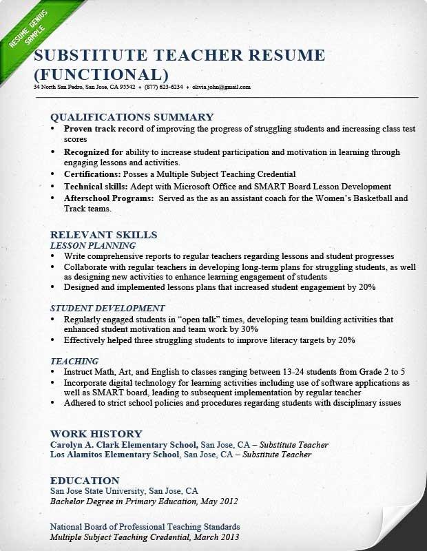 Substitute Teacher Resume Sample Fresh Teacher Resume Samples & Writing Guide