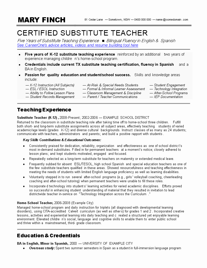 Substitute Teacher Resume Sample New Substitute Teacher Resume Skills