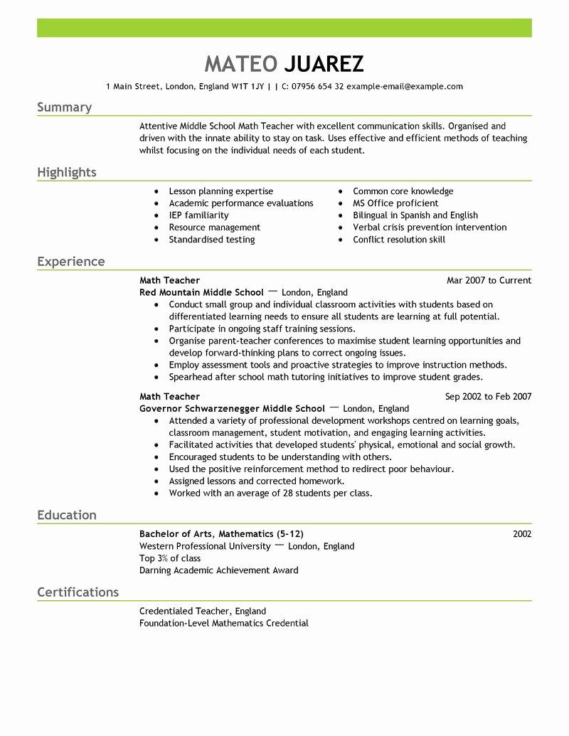 Substitute Teacher Resume Sample New Teacher Resume Examples Substitute Teacher Resume Summary