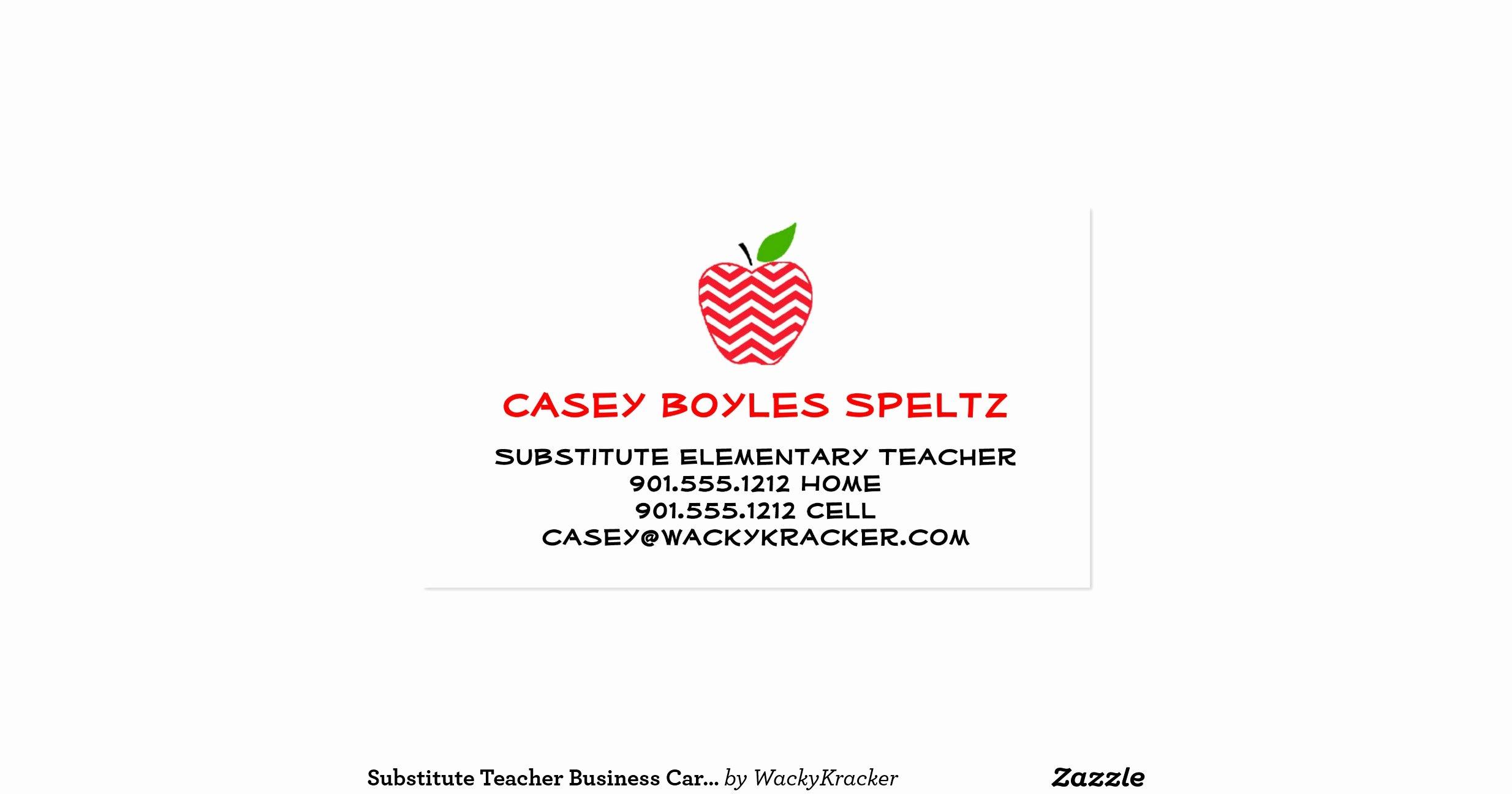 Substitute Teachers Business Cards Beautiful Substitute Teacher Business Cards