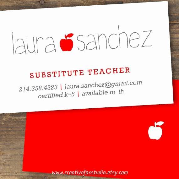 Substitute Teachers Business Cards Inspirational Teacher or Substitute Business Card Applelicious Tutor