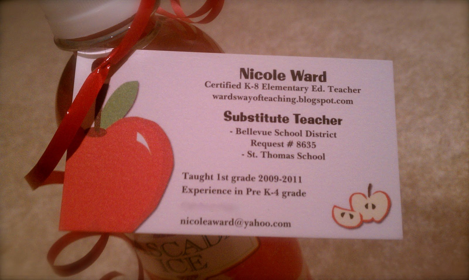 "Substitute Teachers Business Cards Lovely Wards Way Of Teaching E ""spook""tober Post"