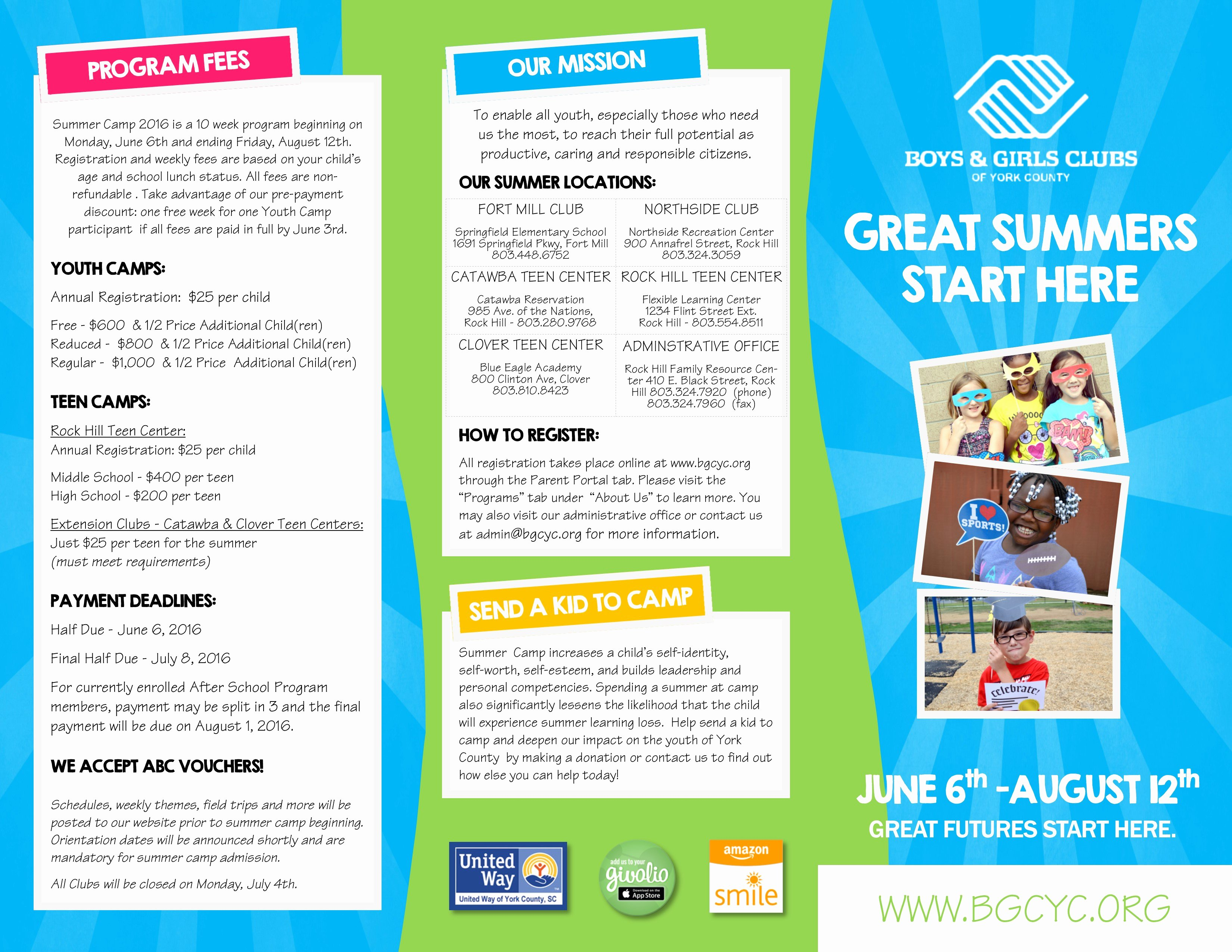 Summer Camp Brochure Ideas Inspirational News & events Boys & Girls Club Of York County