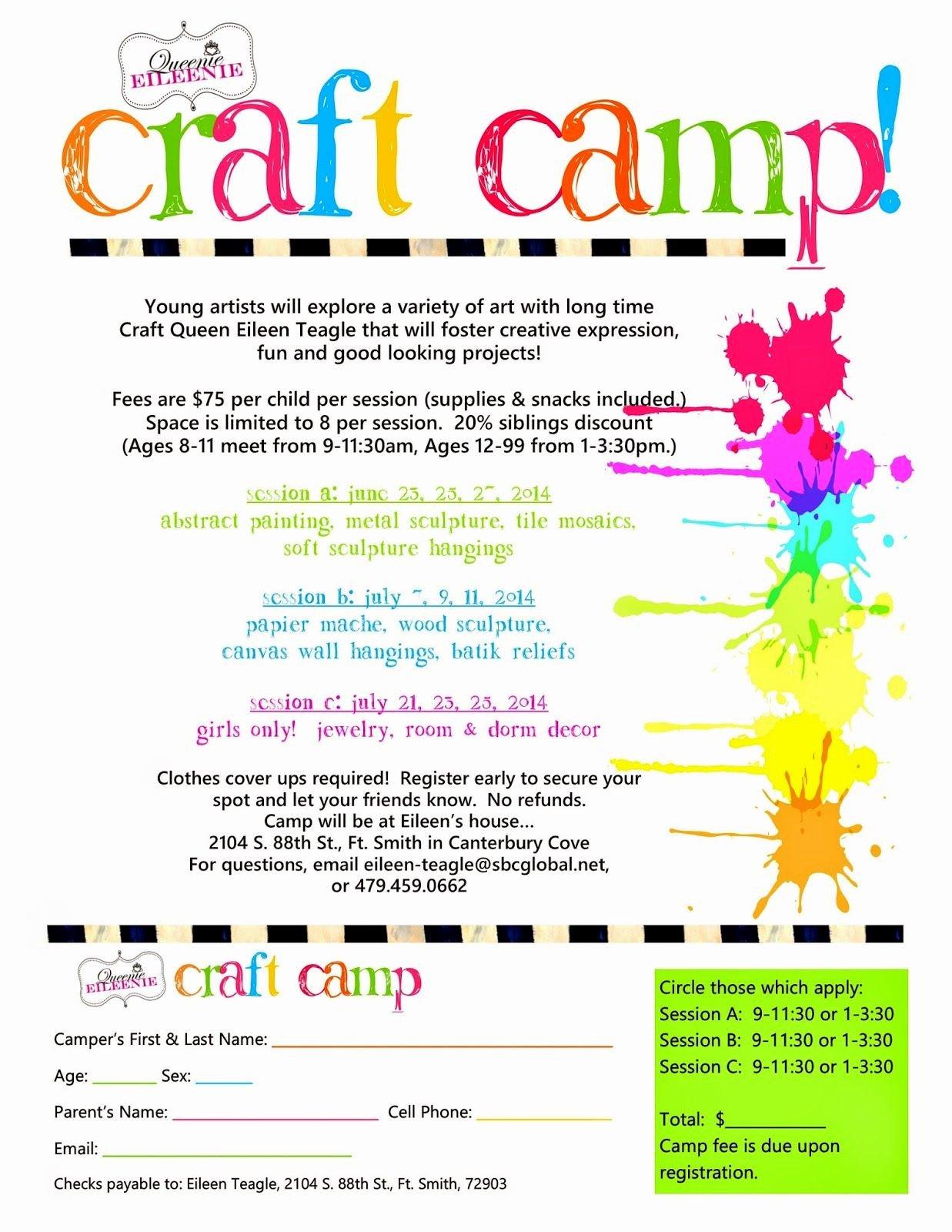 Summer Camp Brochure Ideas Inspirational Queenie Eileenie Announcing Summer Craft Camp and Artie Partie Craft Flyer Ideas