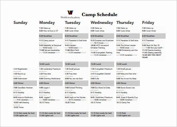 Summer Camp Daily Schedule Sample Awesome 9 Camp Schedule Templates Doc Pdf