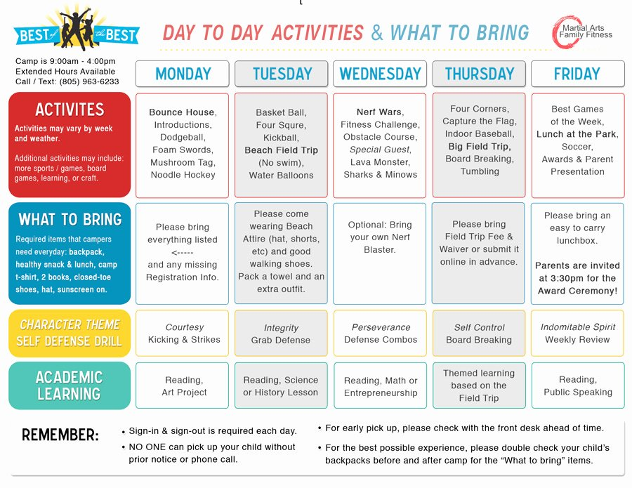 Summer Camp Daily Schedule Sample Awesome Best Of the Best Camp – 10 Weeks Of Summer Camp