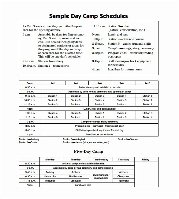Summer Camp Daily Schedule Sample Beautiful 15 Camp Schedule Templates Pdf Doc
