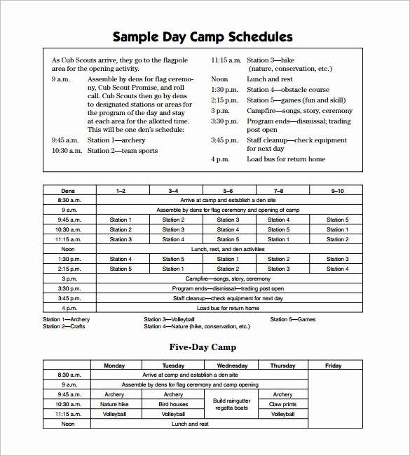 Summer Camp Daily Schedule Sample Beautiful 15 Camp Schedule Templates Pdf Doc