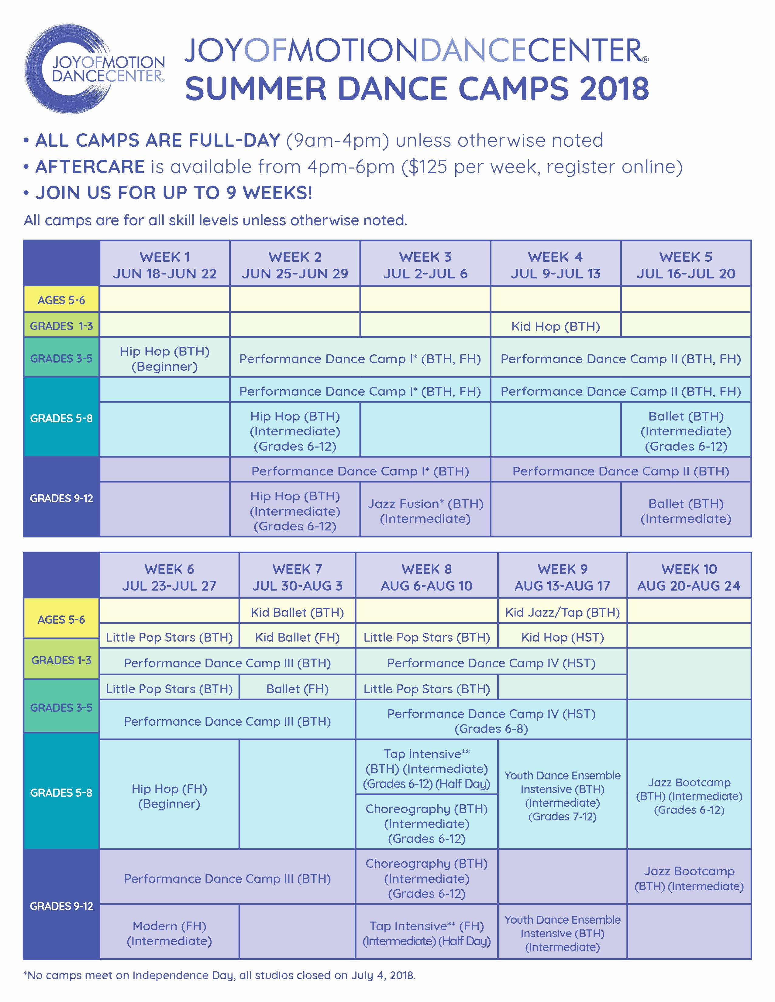 Summer Camp Daily Schedule Sample Beautiful Youth Summer Camps • Joy Of Motion