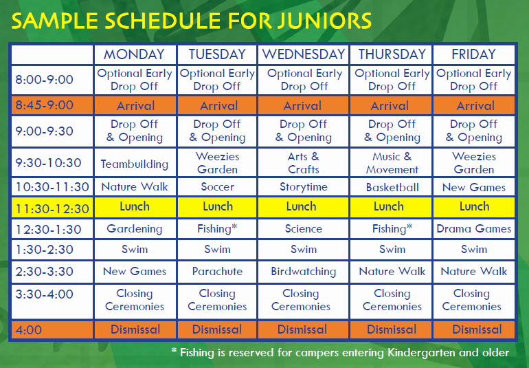 Summer Camp Daily Schedule Sample Best Of Sample Schedule Outward Adventures Camps
