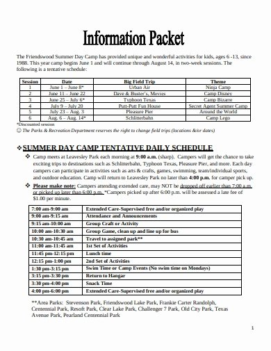Summer Camp Daily Schedule Sample Elegant 26 Daily Schedule Templates In Google Docs Google Sheets Excel Word Pages Pdf