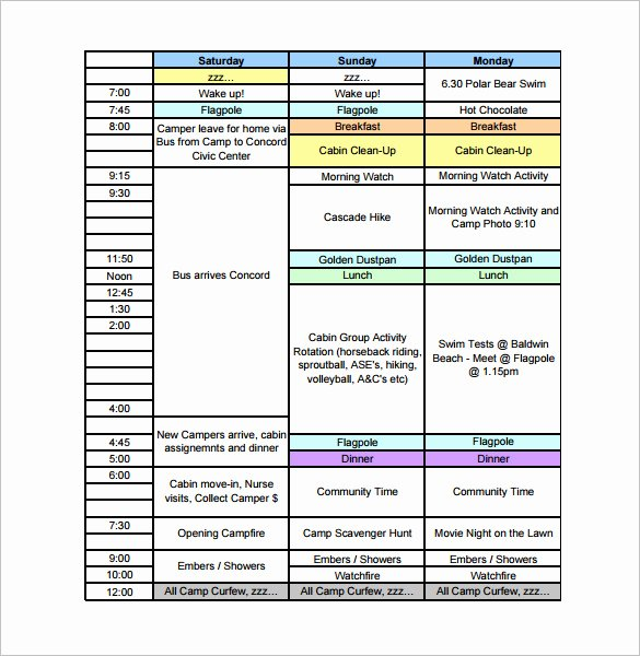Summer Camp Daily Schedule Sample Elegant 8 Camp Schedule Templates Doc Pdf