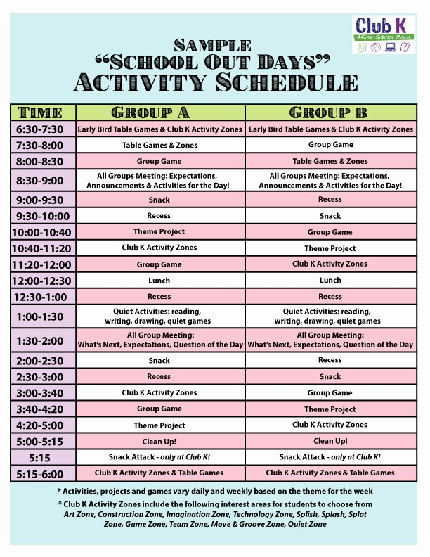 Summer Camp Daily Schedule Sample Elegant Sample Daily Schedule Club K after School Zone