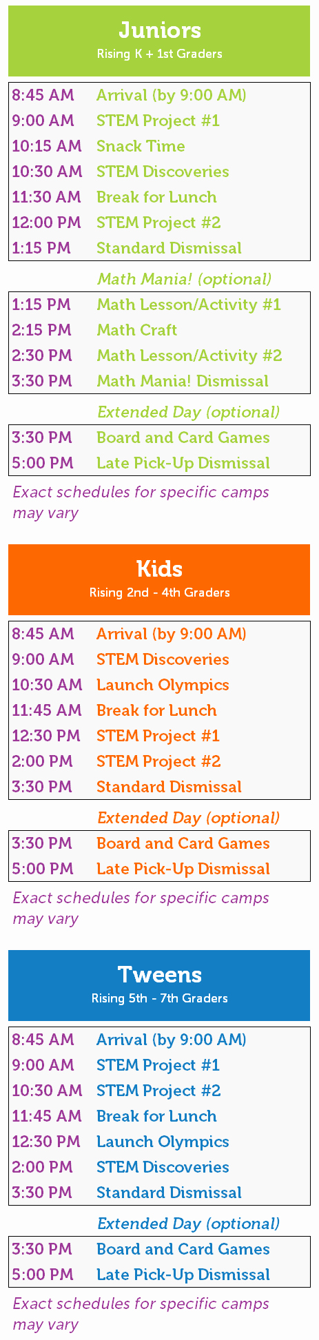 Summer Camp Daily Schedule Sample Inspirational Stem Summer Camps for Kids From Kindergarten to 7th Grade Launch