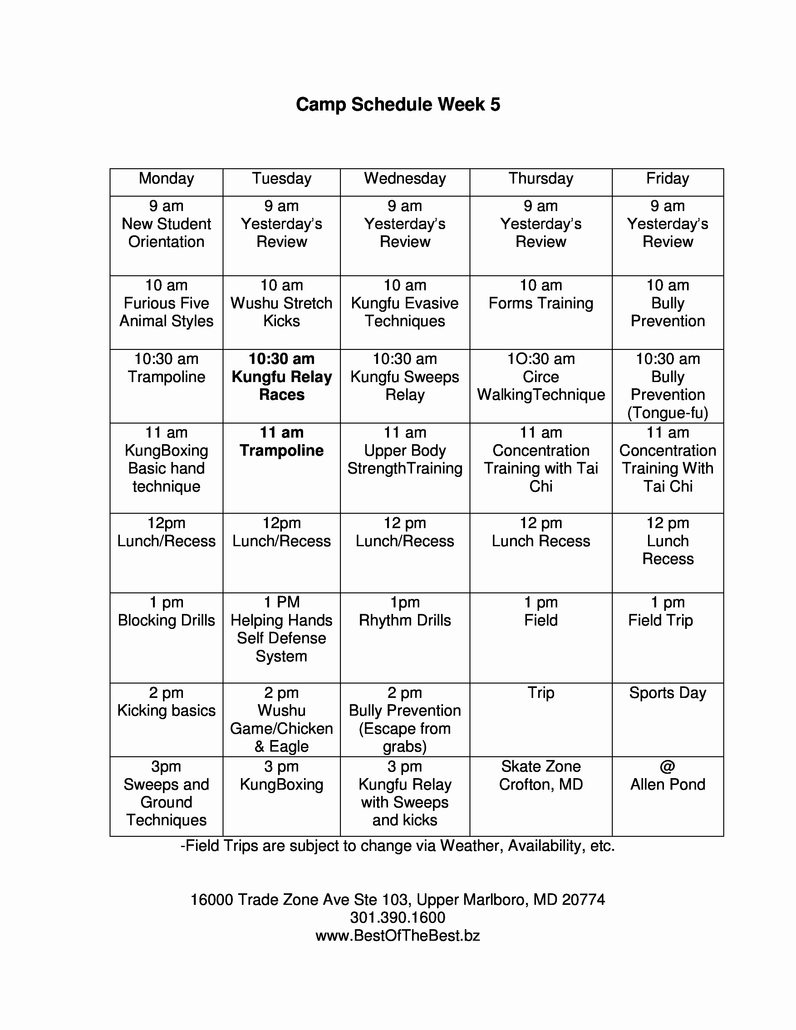 Summer Camp Daily Schedule Sample Luxury Summer Camp