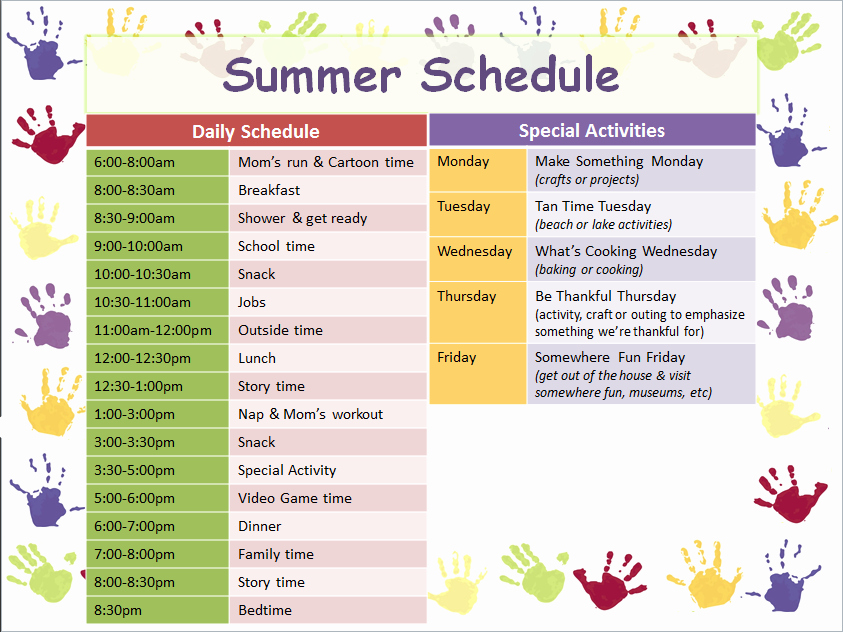 Summer Camp Daily Schedule Sample New I Created This Summer Schedule for My son Using A Free Powerpoint Template and Simple Scheduling