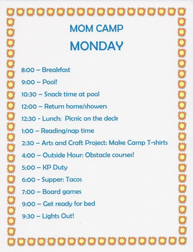 Summer Camp Daily Schedule Template Beautiful 136 Best Summer Schedule Images On Pinterest