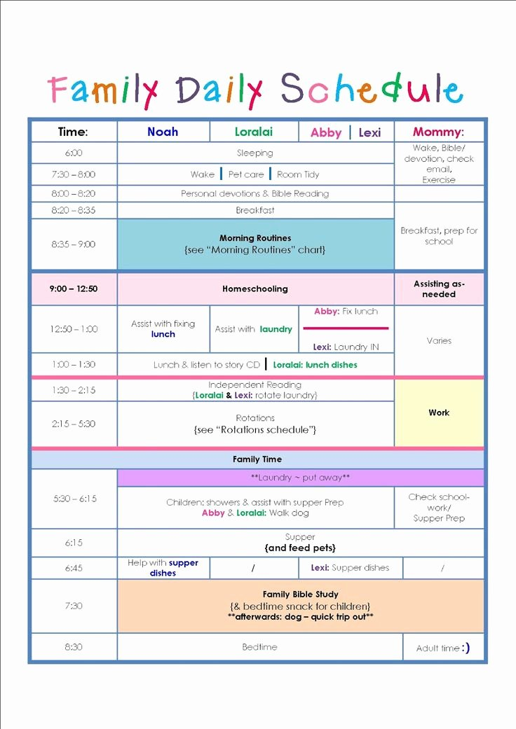 Summer Camp Daily Schedule Template Beautiful Family Daily Routine Schedule Template … Home Schedule & organization Pinterest