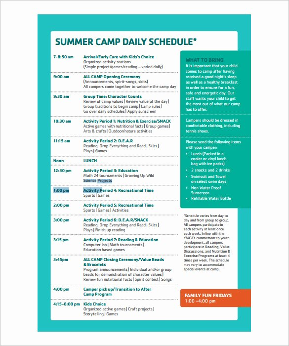 Summer Camp Daily Schedule Template Best Of 15 Camp Schedule Templates Pdf Doc