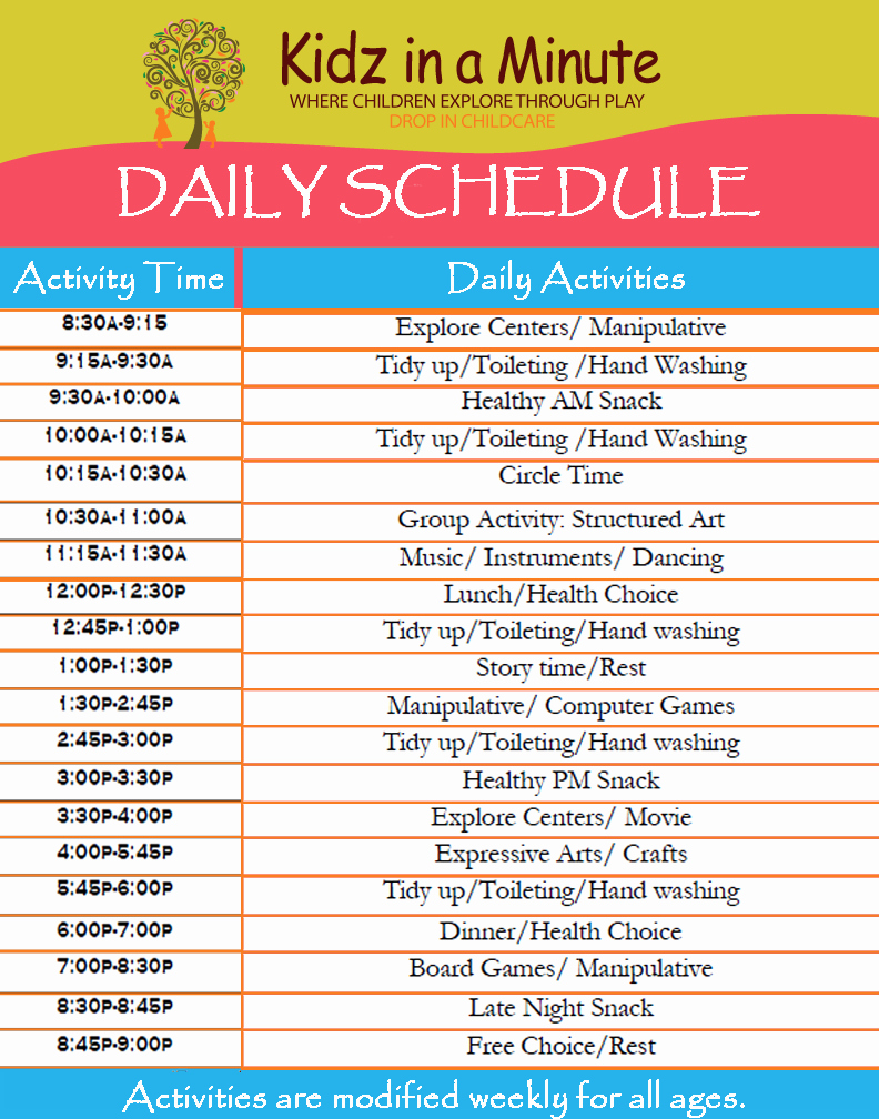 Summer Camp Daily Schedule Template Best Of 30 Of Printable Preschool Daily Schedule Template