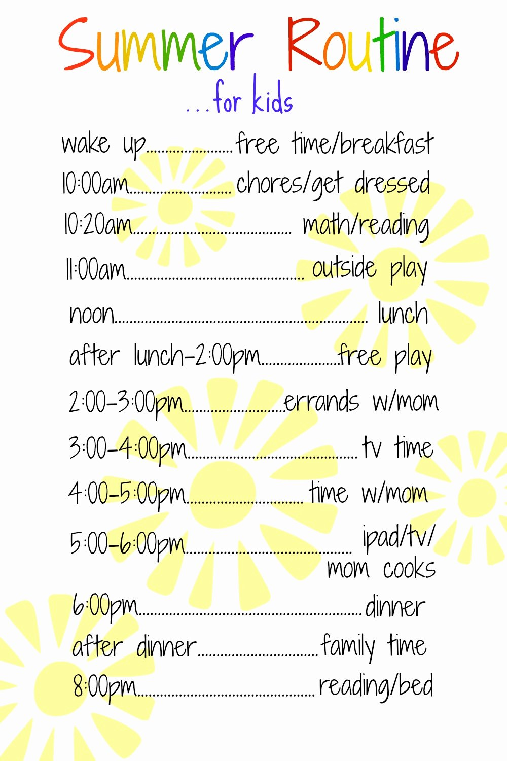 Summer Camp Daily Schedule Template Elegant A Daily Routine for Kids Over the Summer