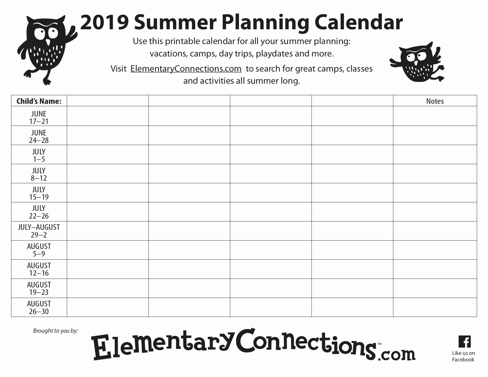 Summer Camp Daily Schedule Template Inspirational 2019 Summer Planning Calendar