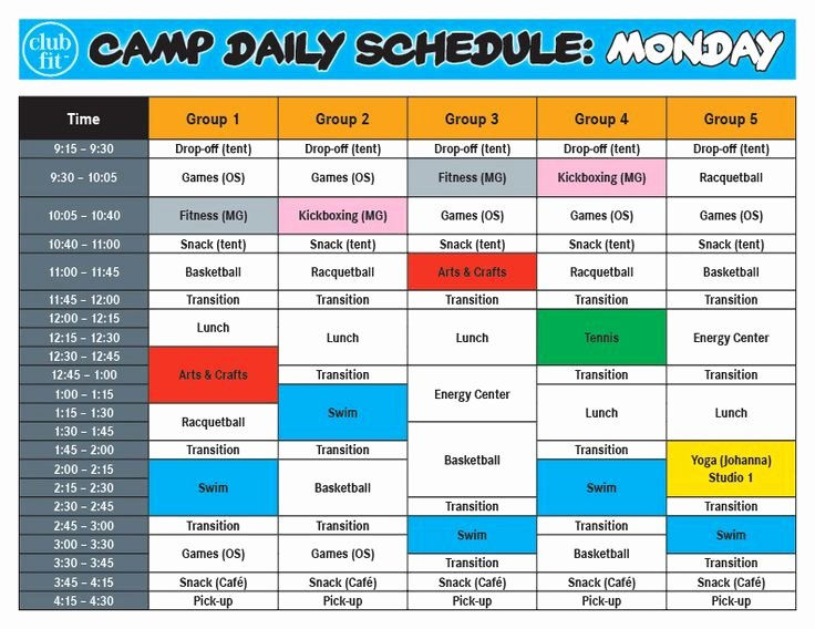 Summer Camp Daily Schedule Template Inspirational Best 20 Summer Camp themes Ideas On Pinterest