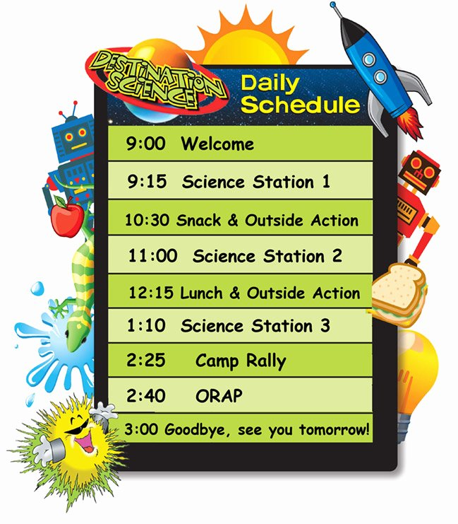 Summer Camp Daily Schedule Template Lovely Destination Science – Sample Schedule
