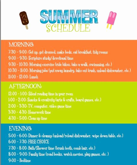 Summer Camp Daily Schedule Template Luxury 1000 Images About Schedules On Pinterest