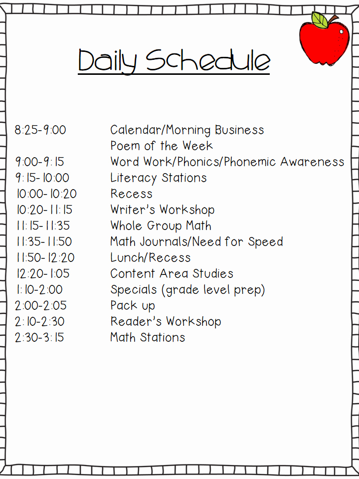 Summer Camp Daily Schedule Template New First Week Of School Make You Nervous See How I Have It Planned Out Kindergarten