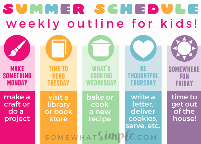 Summer Camp Daily Schedule Template Unique Summer Schedule for Kids organize Kids