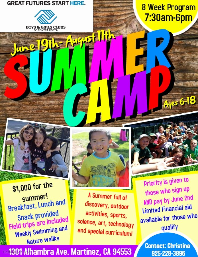 Summer Camp Flyer Design Awesome Summer Camp Flyer Boys & Girls Clubs Of Contra Costa