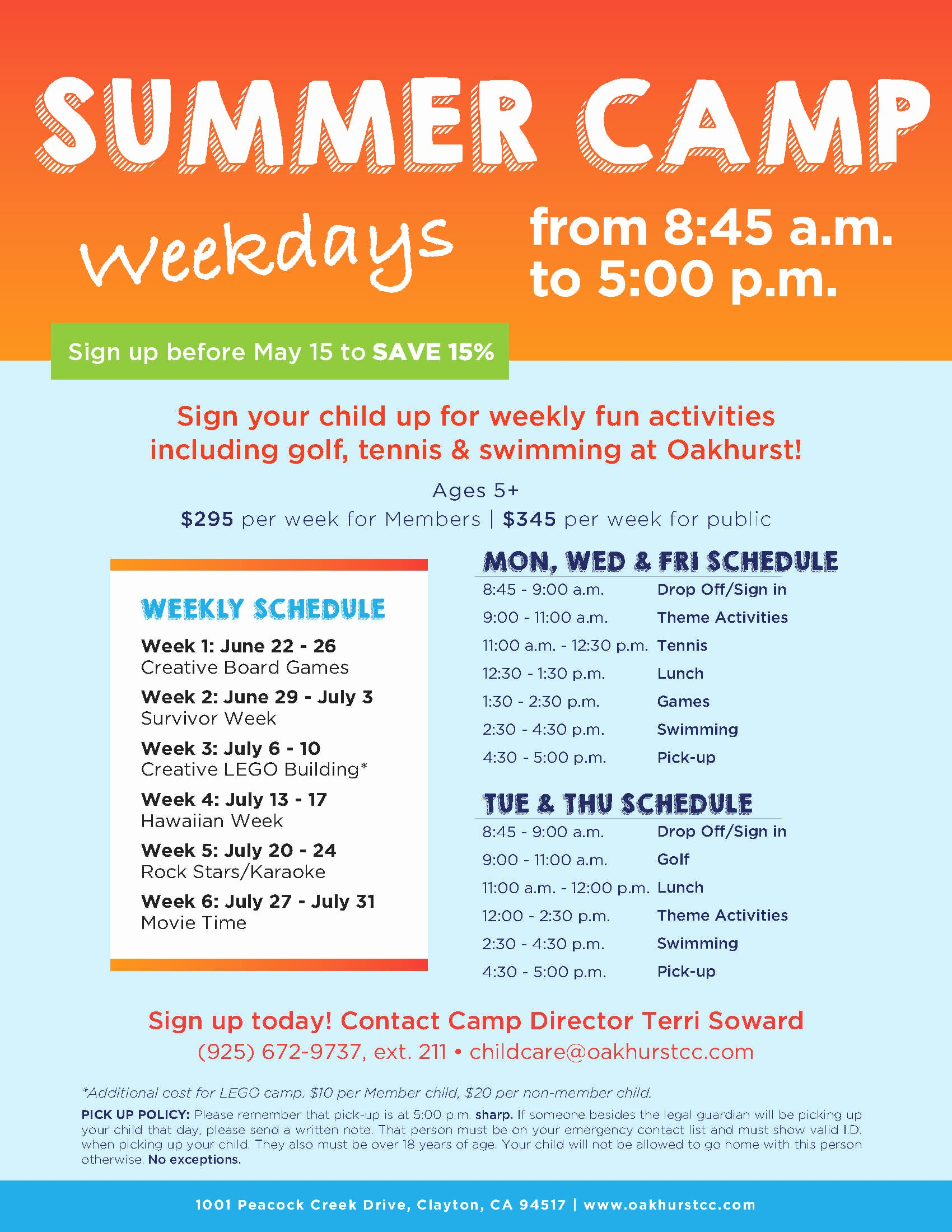 Summer Camp Flyer Design Best Of Oakhurst Summer Camp Flyer Template Kids