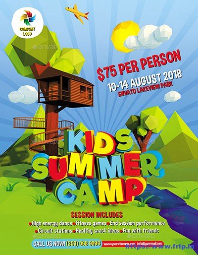 Summer Camp Flyer Design Elegant 50 Best Kids Summer Camp Flyer Print Templates 2019
