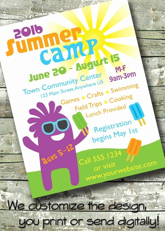 Summer Camp Flyer Design Elegant Summer Camp Kids Day Camp 5x7 Invite 8 5x11 Flyer