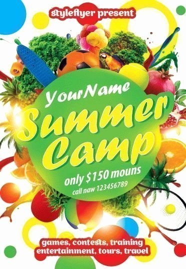 Summer Camp Flyer Design Lovely 15 Summer Flyers Free Download Styleflyers