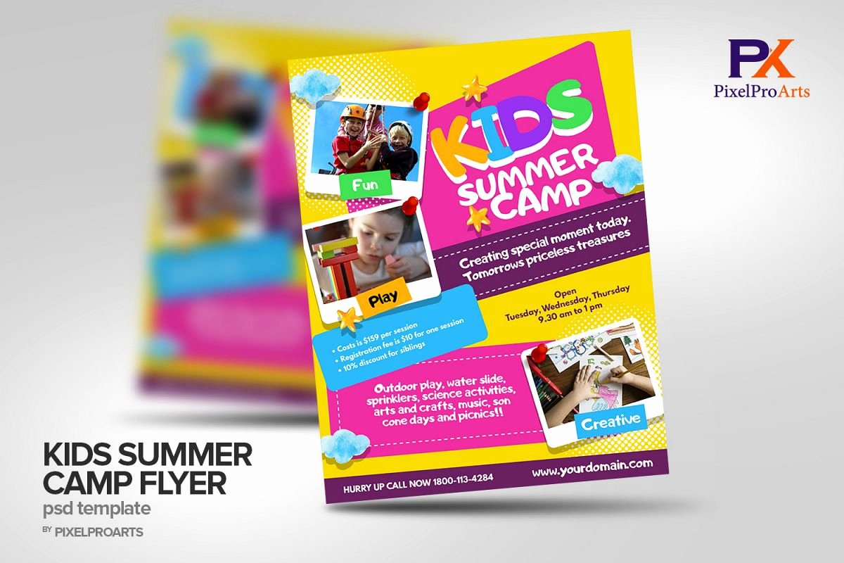 Summer Camp Flyer Design Lovely Kids Summer Camp Flyer Poster Template
