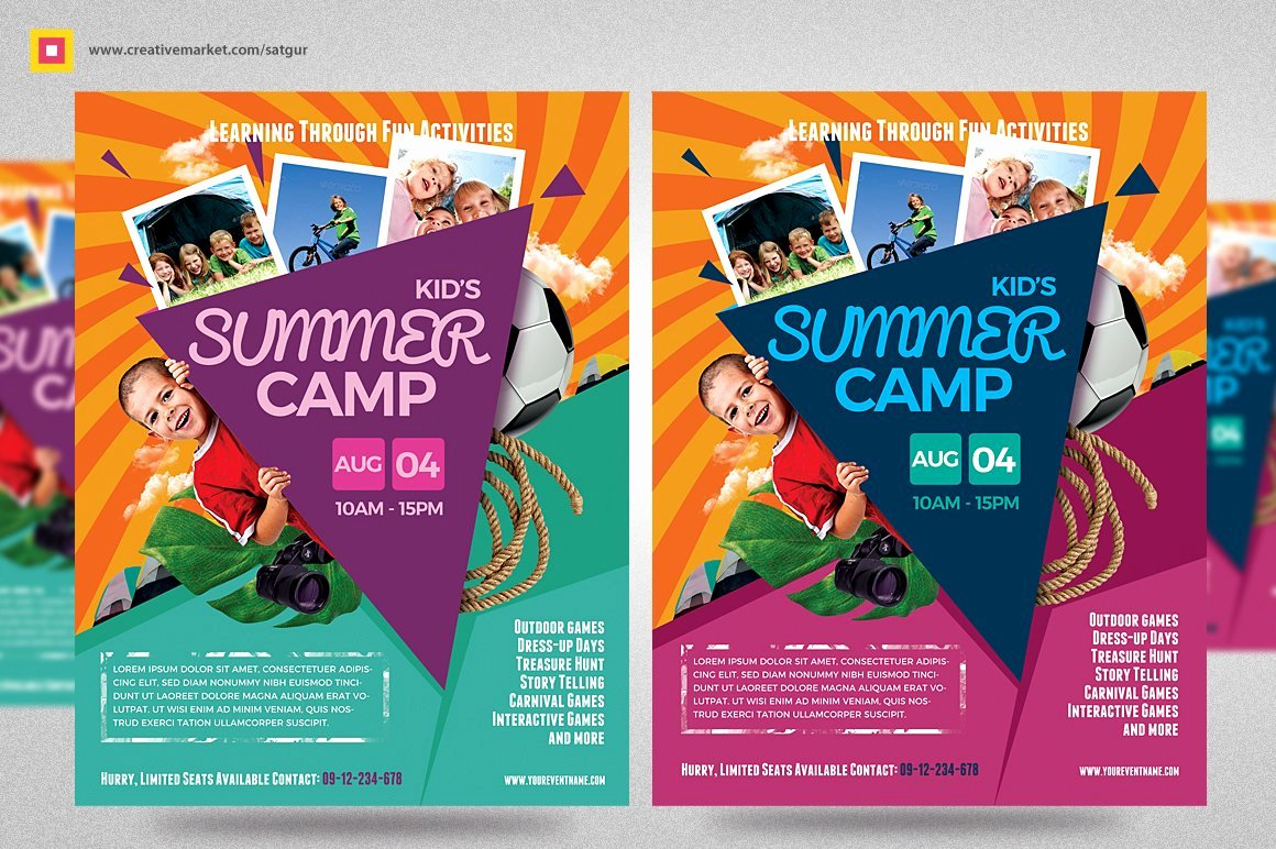Summer Camp Flyer Design Lovely Kids Summer Camp Flyer V3 Flyer Templates Creative Market