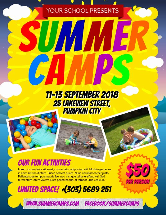 Summer Camp Flyer Design New Copy Of Summer Camps Flyer