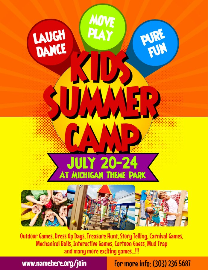 Summer Camp Flyer Template Elegant Artist Corner Rani Ramli From Malaysia