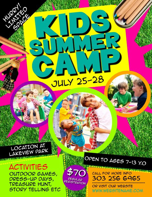 Summer Camp Flyer Template New Kids Summer Camp Flyer Template