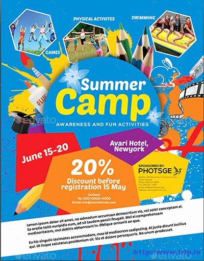 Summer Camp Flyer Templates Free Awesome 40 Best Kids Summer Camp Flyer Print Templates 2016