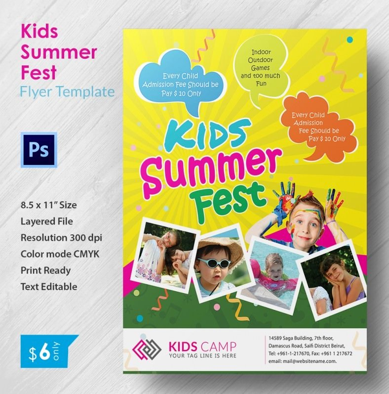 Summer Camp Flyer Templates Free Elegant 3 Perfect Kids Summer Fest Flyer Templates Word Psd