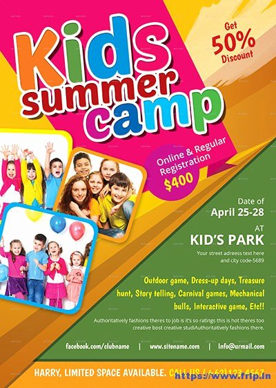 Summer Camp Flyer Templates Free New 50 Best Kids Summer Camp Flyer Print Templates 2017