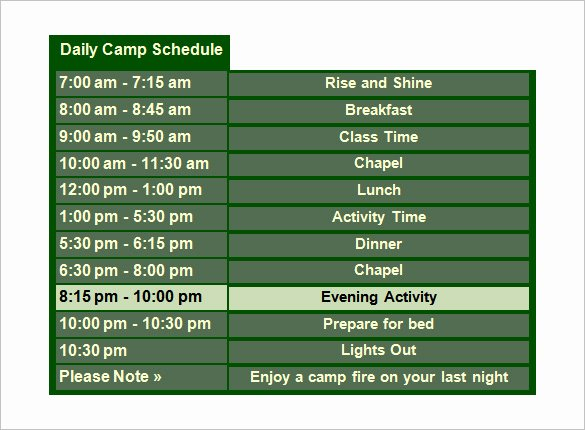 Summer Camp Schedule Templates Awesome 15 Camp Schedule Templates Pdf Doc