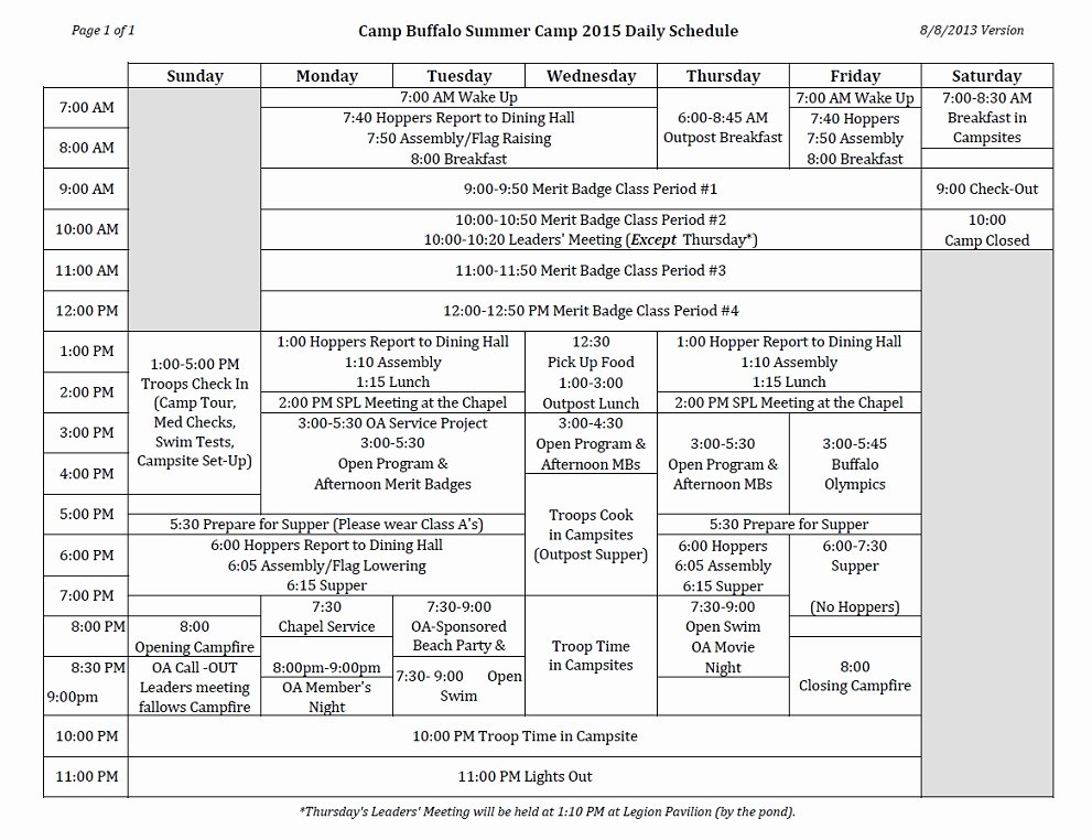 Summer Camp Schedule Templates Beautiful Summer Camp Daily Schedule Camp Buffalo Sagamore Council Bsa