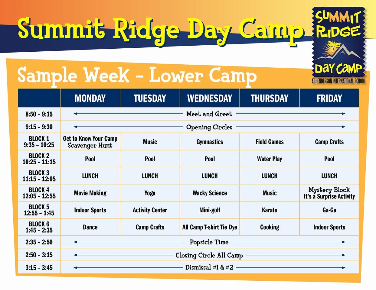 Summer Camp Schedule Templates Fresh Activities & Sample Schedule